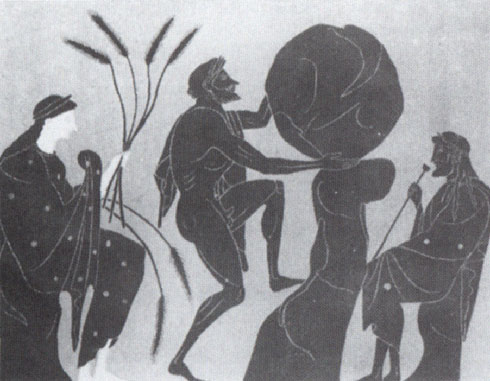 Illustration of Sisyphus pushing his rock.